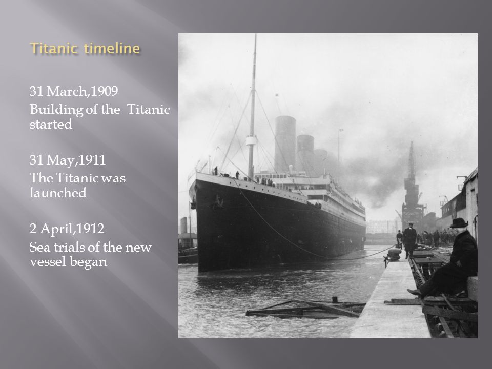 Titanic timeline 31 March,1909 Building of the Titanic started