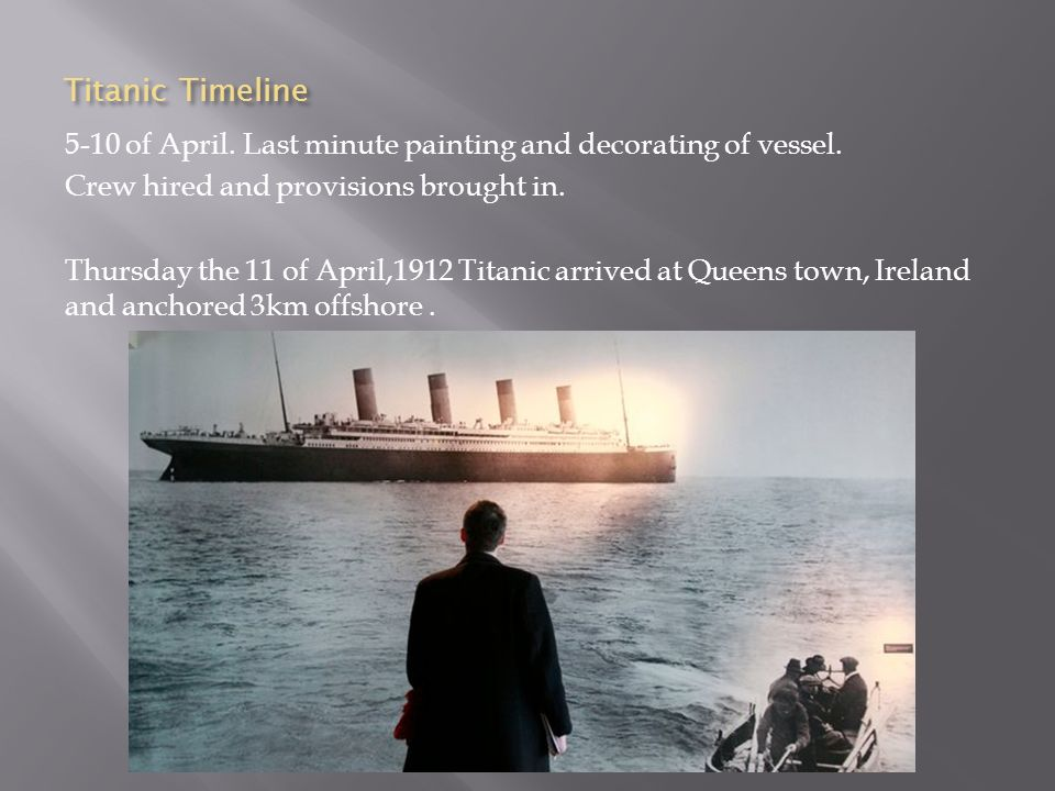 Titanic Timeline 5-10 of April. Last minute painting and decorating of vessel. Crew hired and provisions brought in.
