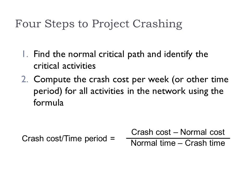 how to find crashing cost