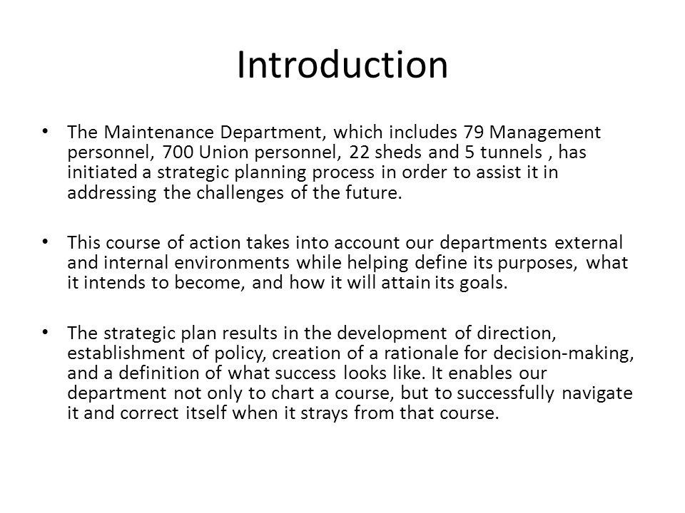 Maintenance department strategic plan ppt video online download 3 introduction malvernweather Images