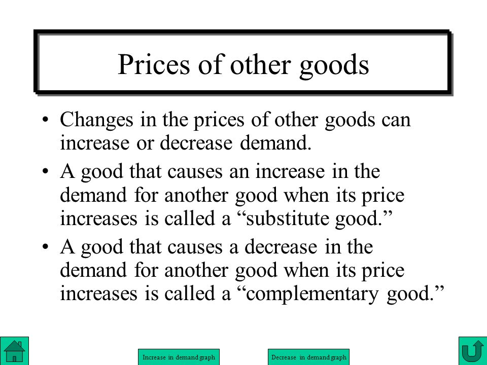 Prices of other goods Changes in the prices of other goods can increase or decrease demand.