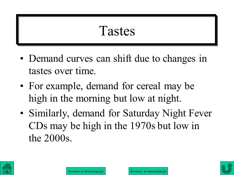 Tastes Demand curves can shift due to changes in tastes over time.