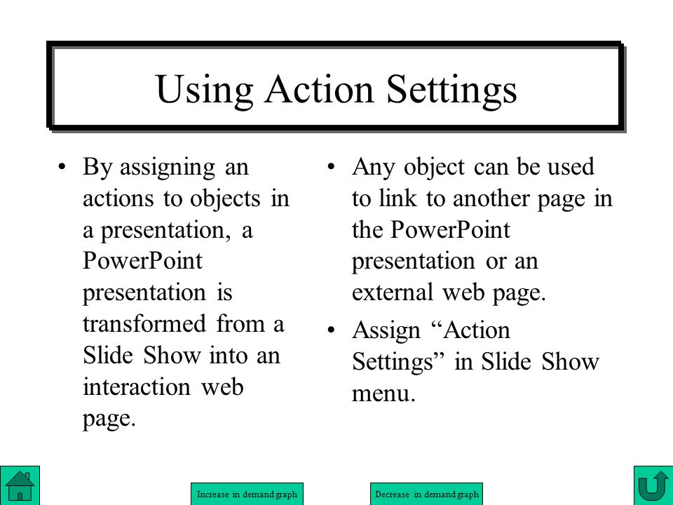 Using Action Settings