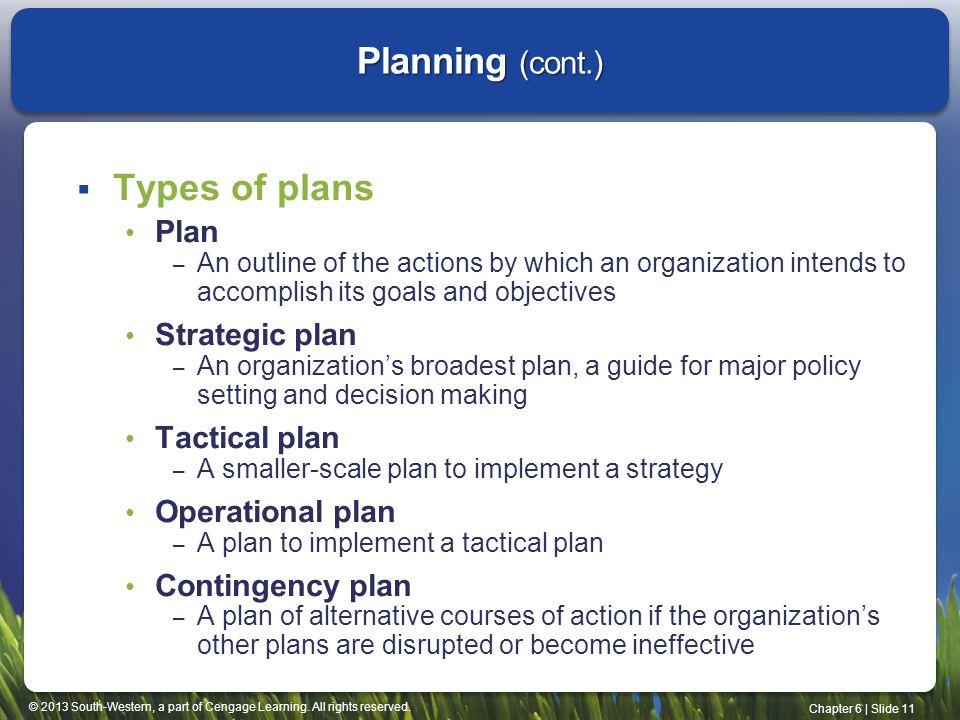 Planning (cont.) Types of plans Plan Strategic plan Tactical plan