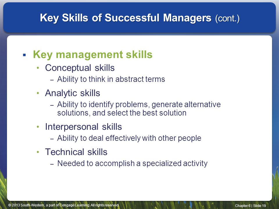 Key Skills of Successful Managers (cont.)