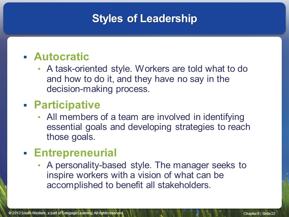 Styles of Leadership Autocratic Participative Entrepreneurial