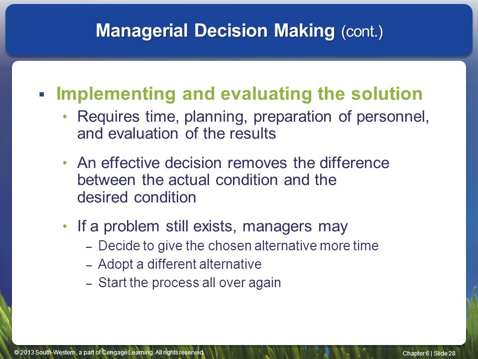 Managerial Decision Making (cont.)
