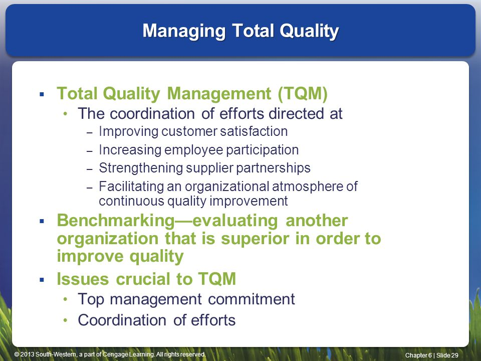 Managing Total Quality