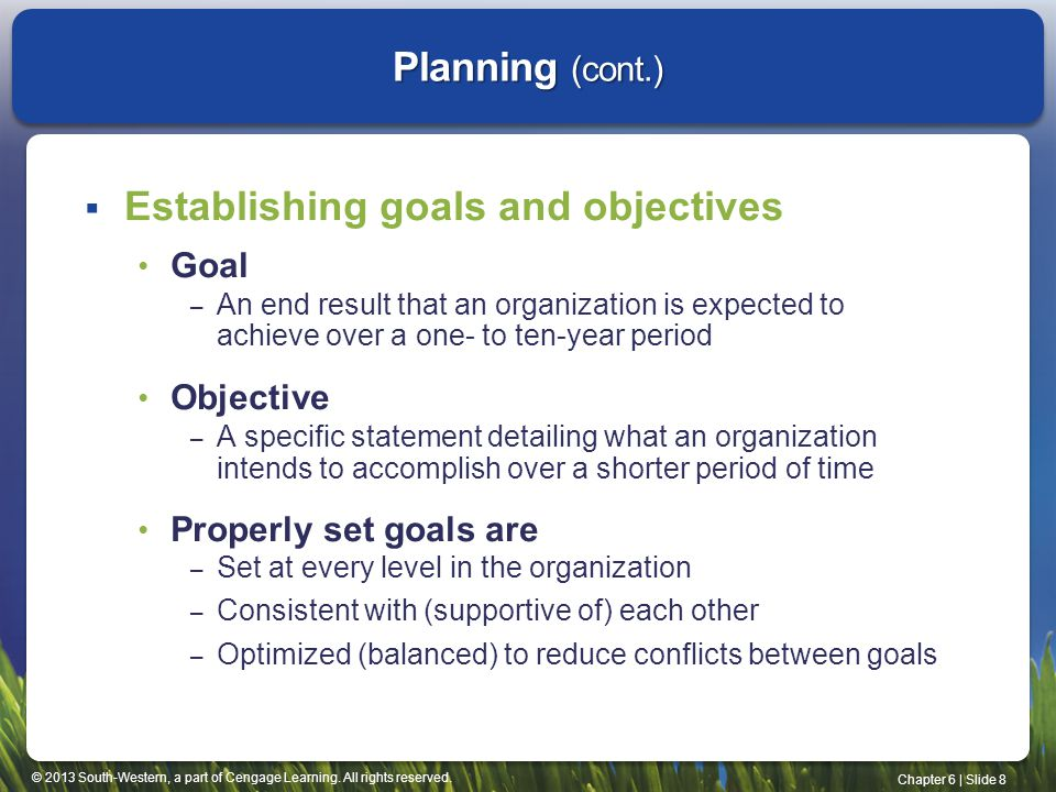 Establishing goals and objectives