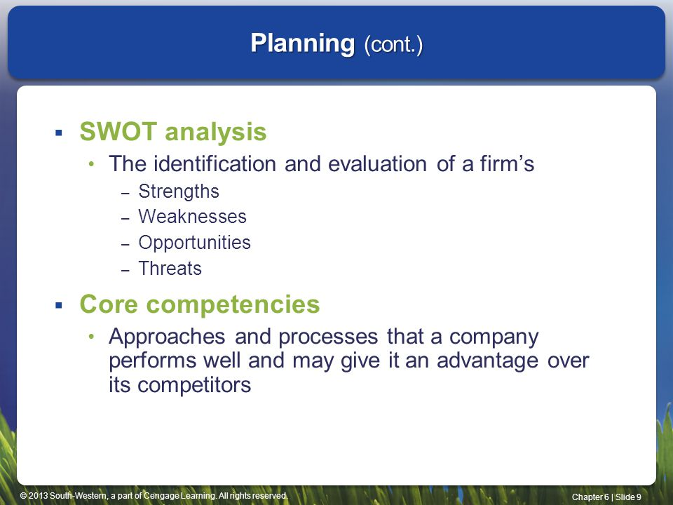 Planning (cont.) SWOT analysis Core competencies