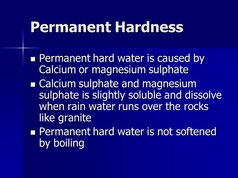 permanent water hardness of water sources Determining of hardness of water 1 name  unlike the permanent hardness caused by sulphate and  hardness of water from different sources to be compared.