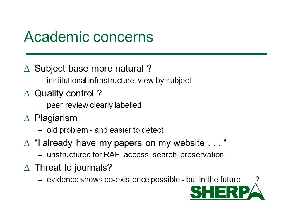 Academic concerns Subject base more natural Quality control