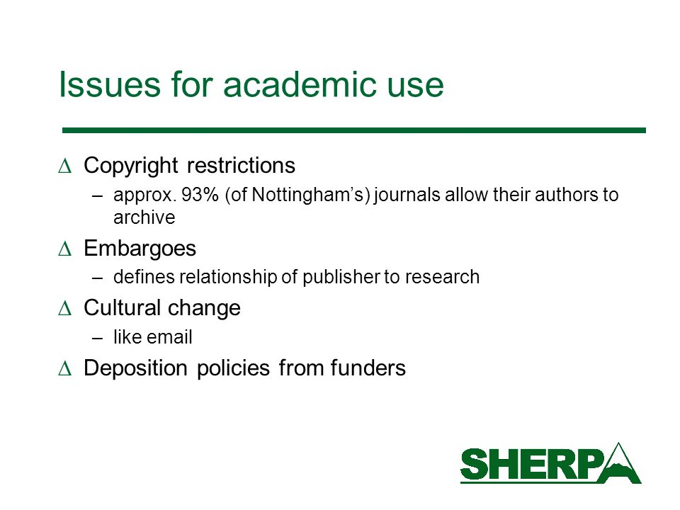 Issues for academic use
