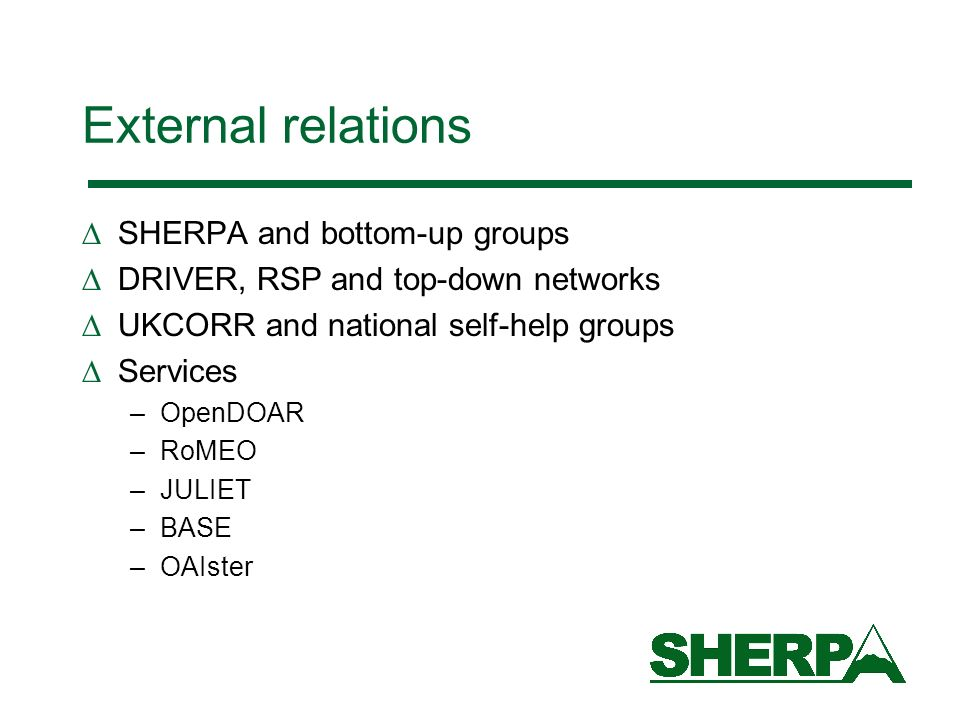 External relations SHERPA and bottom-up groups