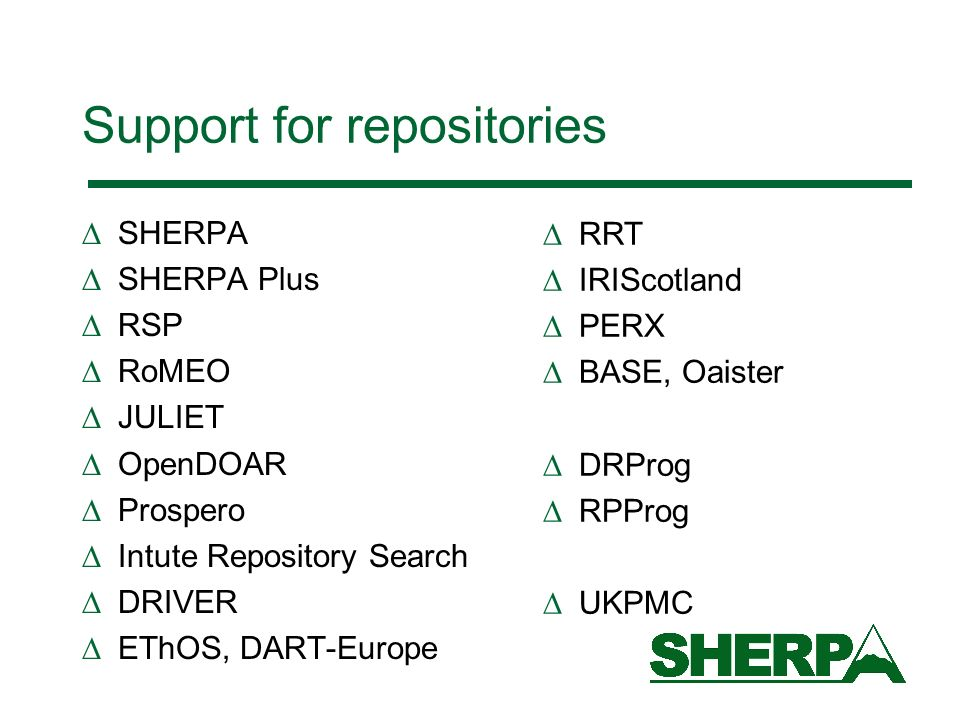 Support for repositories