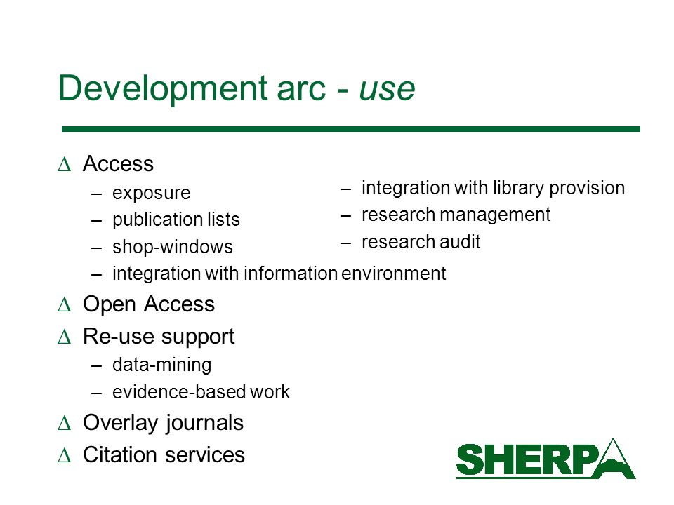 Development arc - use Access Open Access Re-use support