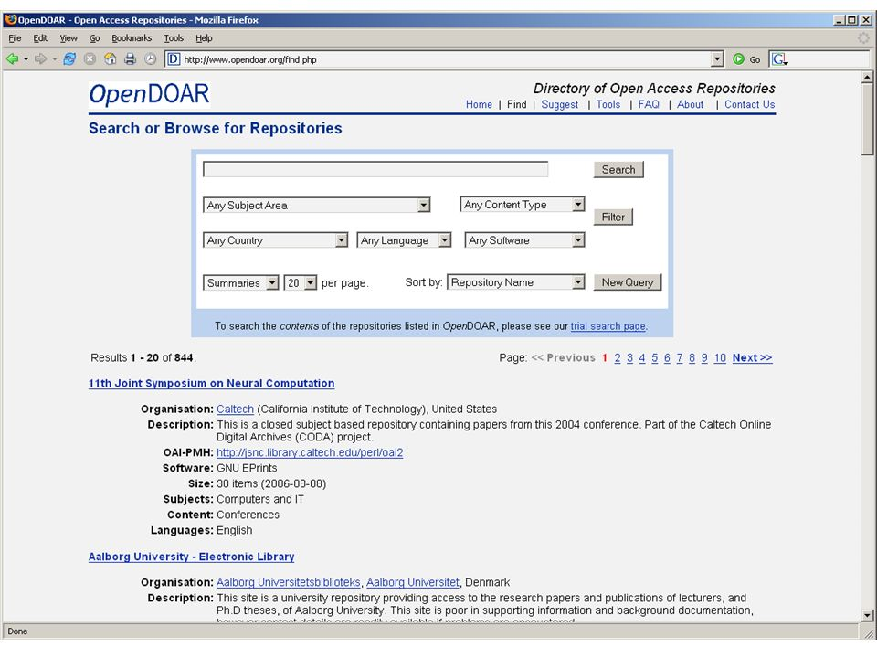 OpenDOAR front page Bill Hubbard, SHERPA Dublin IUA event Feb 2007
