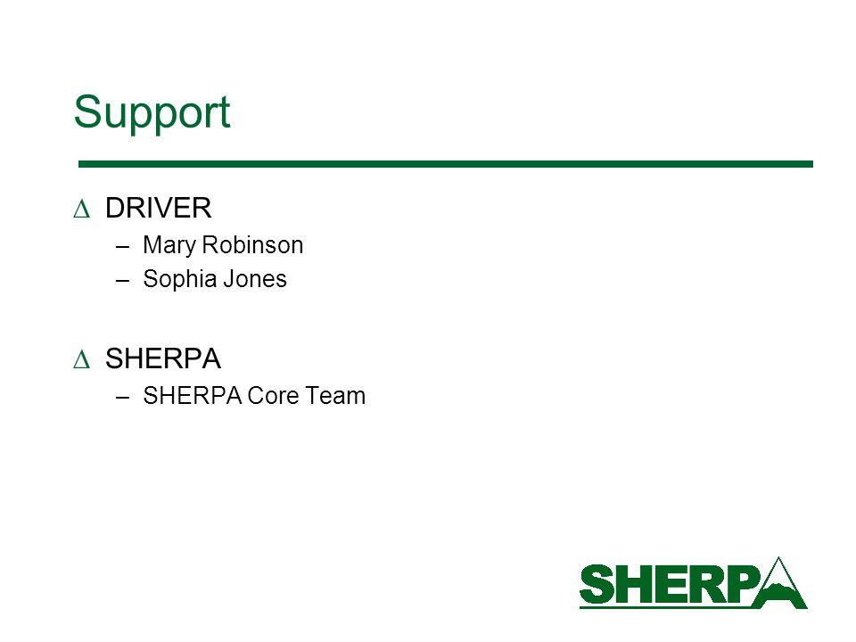 Support DRIVER SHERPA Mary Robinson Sophia Jones SHERPA Core Team