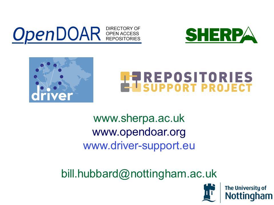 www. sherpa. ac. uk www. opendoar. org www. driver-support. eu bill