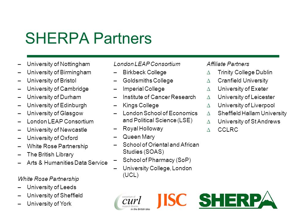 SHERPA Partners University of Nottingham University of Birmingham