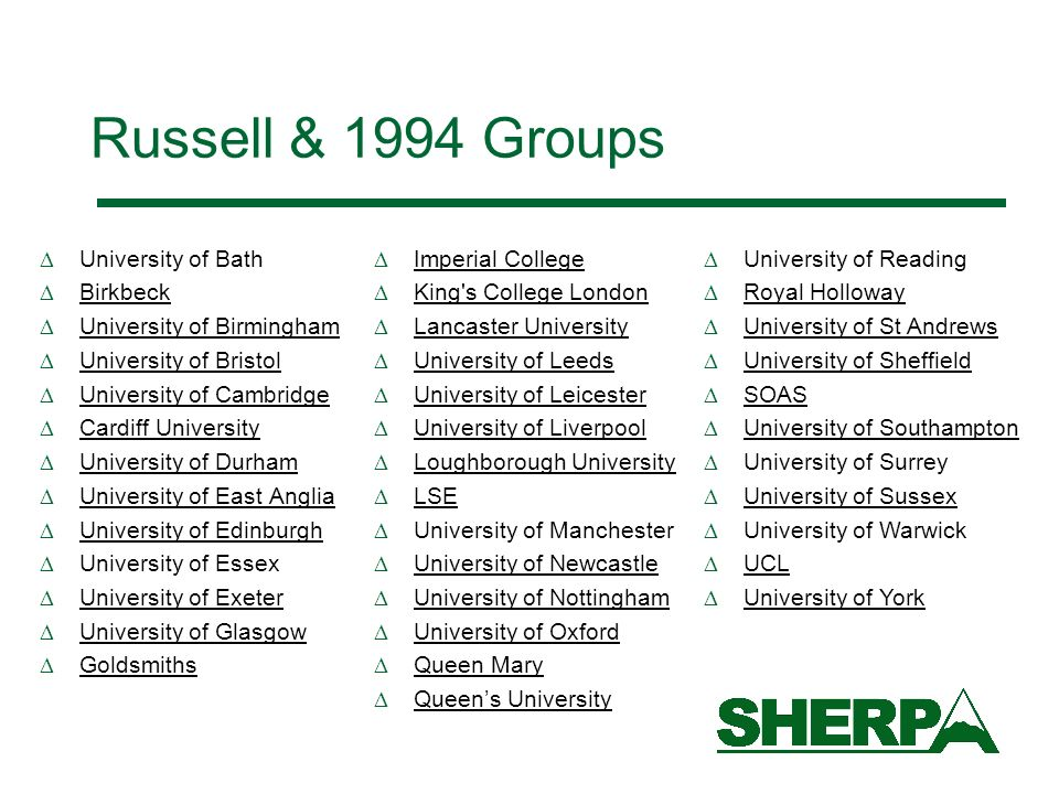 Russell & 1994 Groups University of Bath Birkbeck