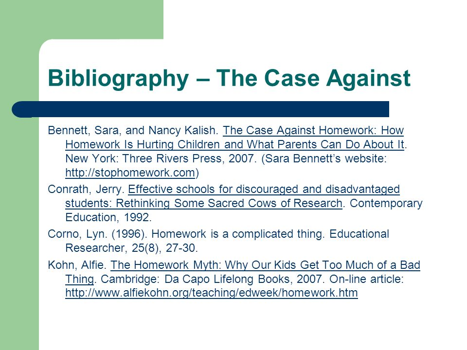 case against homework Should kids in elementary school have a homework packet to complete over winter vacation should children in kindergarten, first, and second grade even.