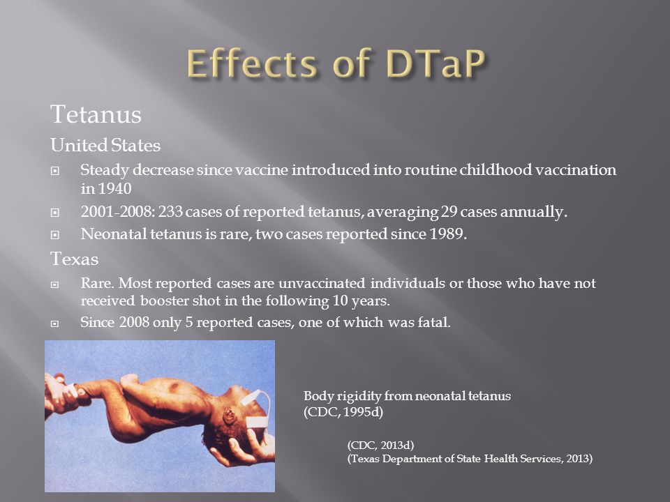 effect of tetanus toxoid vaccine on neonatal tetanus Neonatal tetanus generalized tetanus  and death is attributed to the direct effects of tetanus  withholding tetanus-toxoid vaccine outweighs the risk of.