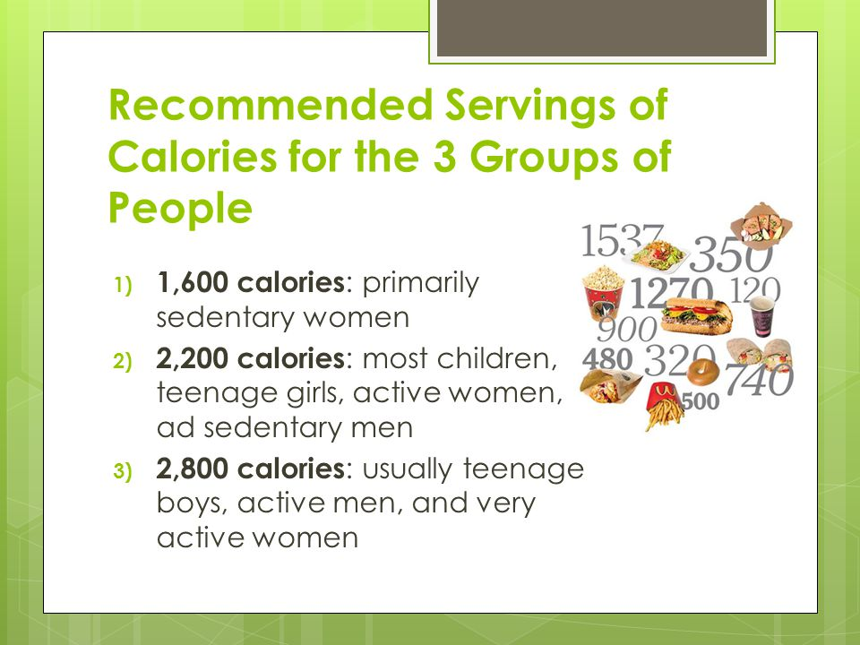 Recommended Servings of Calories for the 3 Groups of People