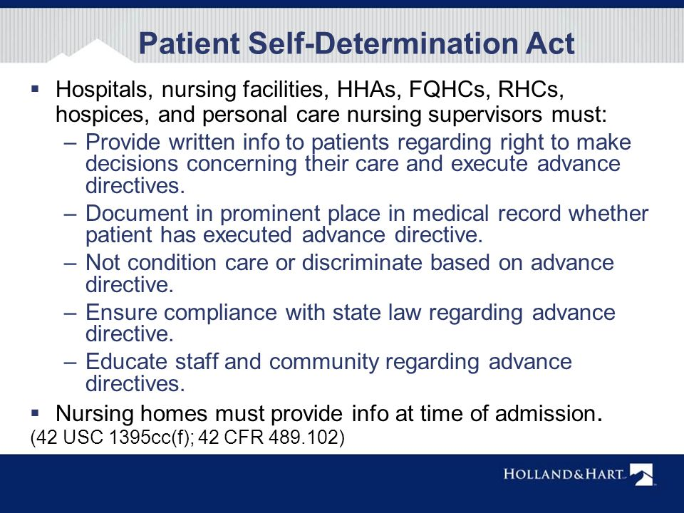 checkpoint patient self determination act J fla med assoc 1992 apr79(4):240-3 patient self-determination act koch ka( 1) author information: (1)department of internal medicine, university of florida.