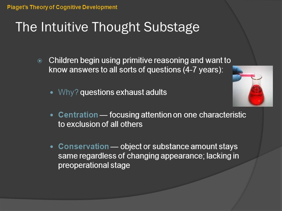 cognitive development theory Cognitive development research papers evaluate piaget's child development theories and stages, specifically the preoperational stage research papers on cognitive development begin by studying piaget's work on human development and its stages.