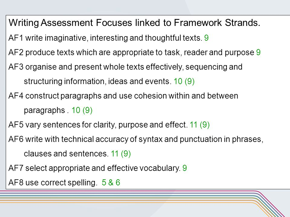 writing assessment focuses Fourth grade writing standards focus on the writing process as the primary tool to help children become standardized writing assessment begins in the fourth.