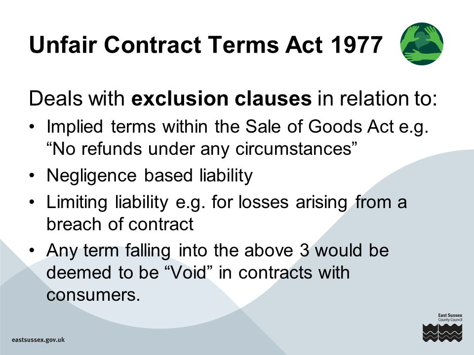 the unfair contract terms act 1977 essay We will write a cheap essay sample on contract law exemption clauses specifically for you for only $1290/page order now the unfair contract terms act of 1977 regulates explicit contract terms by judging the use of causes which exempt with this act.