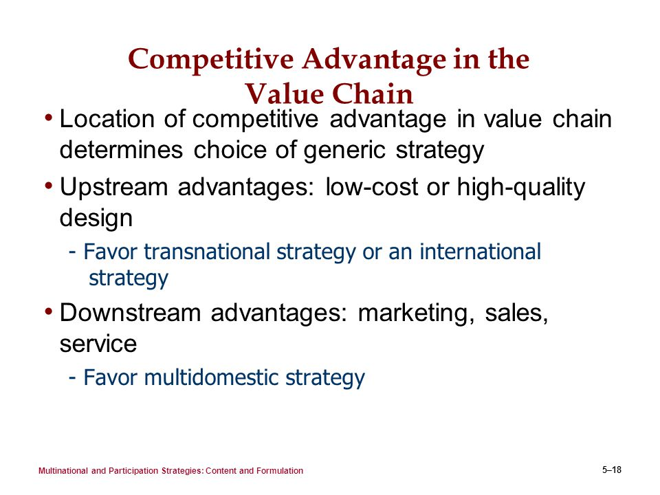 An introduction to the competitive advantage in the international market
