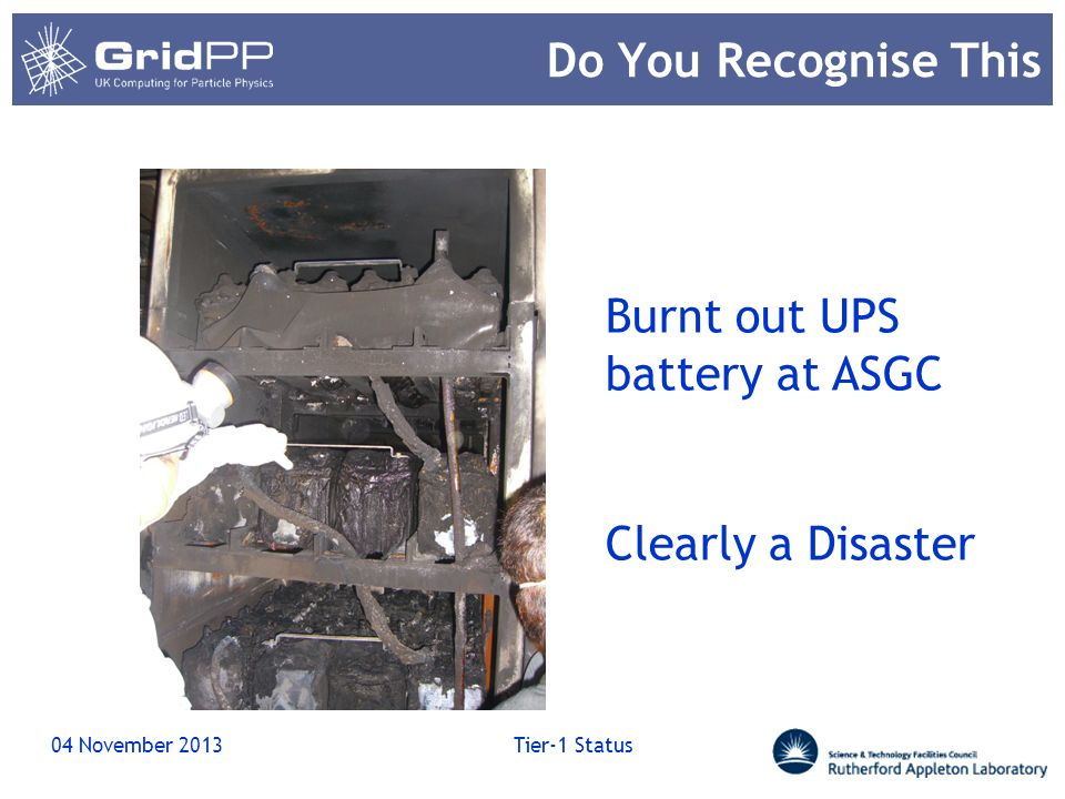 Burnt out UPS battery at ASGC