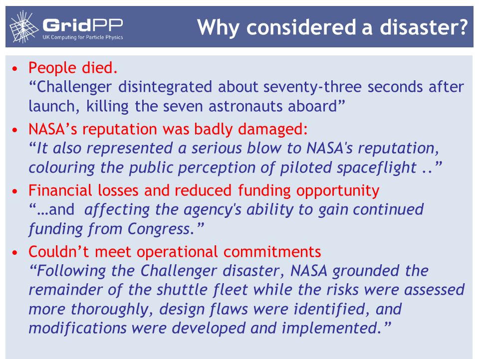 Why considered a disaster