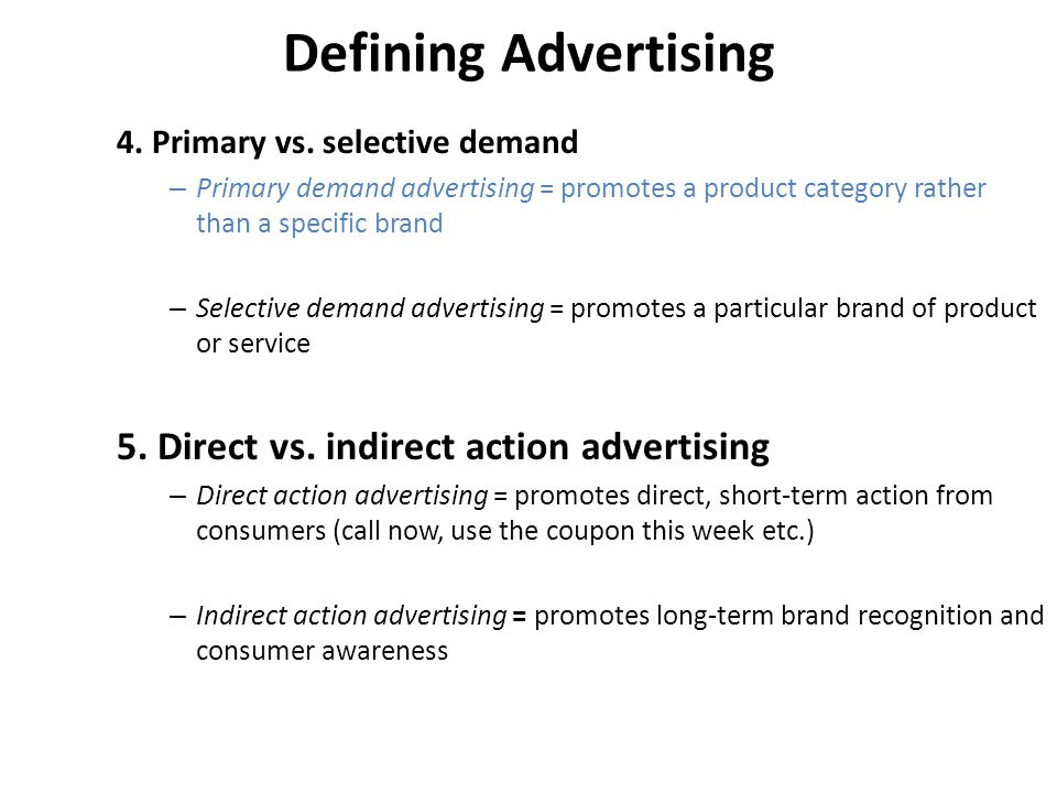 primary and selective demand stimulators in advertising Study 749 advert 318j study guide (2011-12 wilcox) flashcards from studyblue on studyblue primary demand stimulation primary demand stimulation selective demand stimulation selective demand stimulation direct response advertising delayed response advertising.