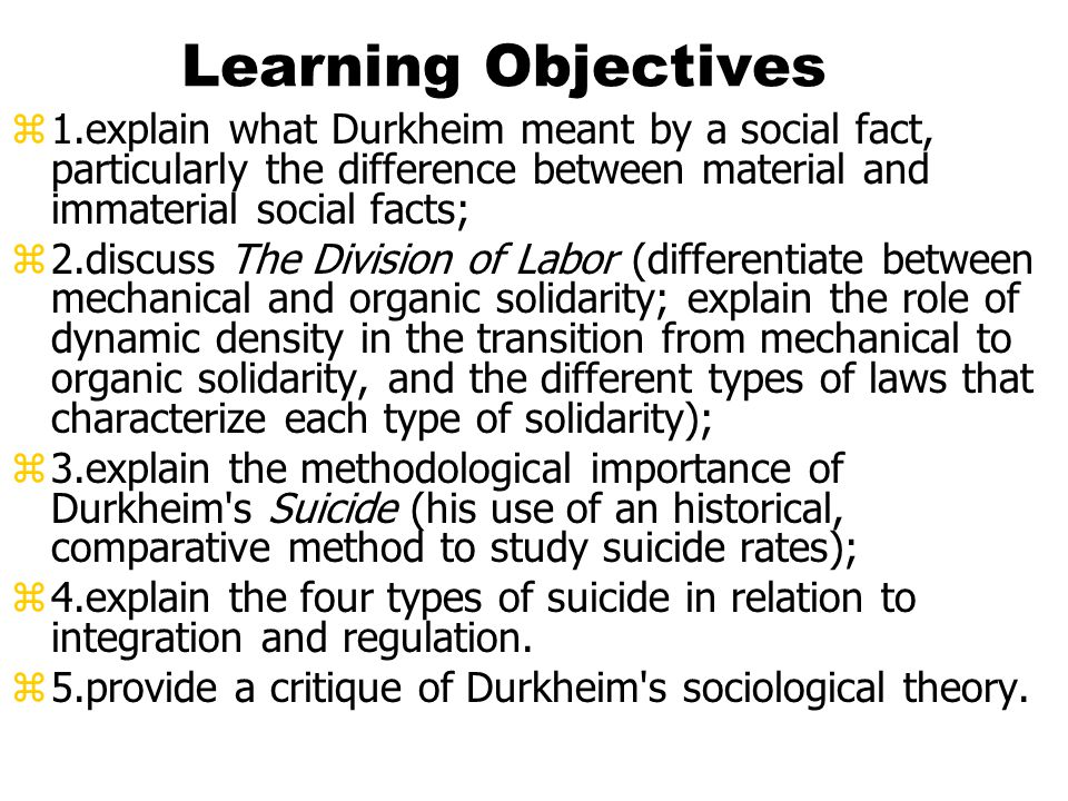significance of social facts for durkheims work It was to define the proper method for their study that durkheim wrote the rules of sociological method (1895) durkheim was particularly concerned to distinguish social facts, which he sometimes described as states of the collective mind, from the forms these states assumed when manifested through private, individual minds.