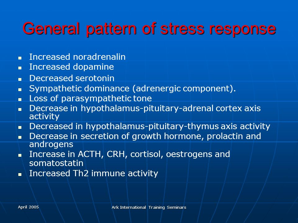General pattern of stress response