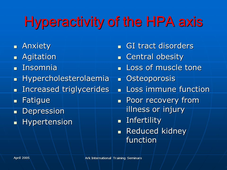 Hyperactivity of the HPA axis