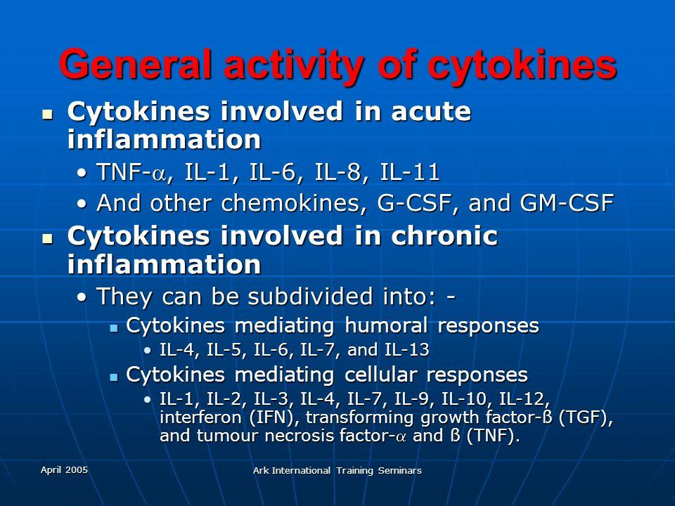 General activity of cytokines