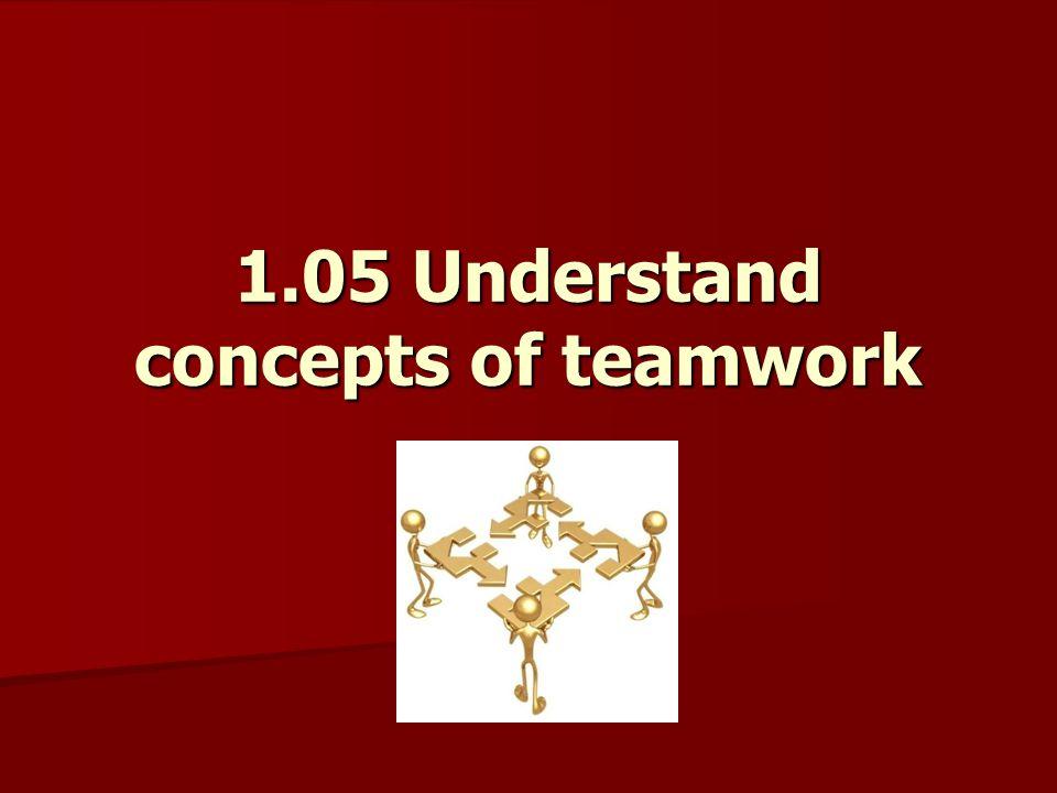 1.05 Understand concepts of teamwork