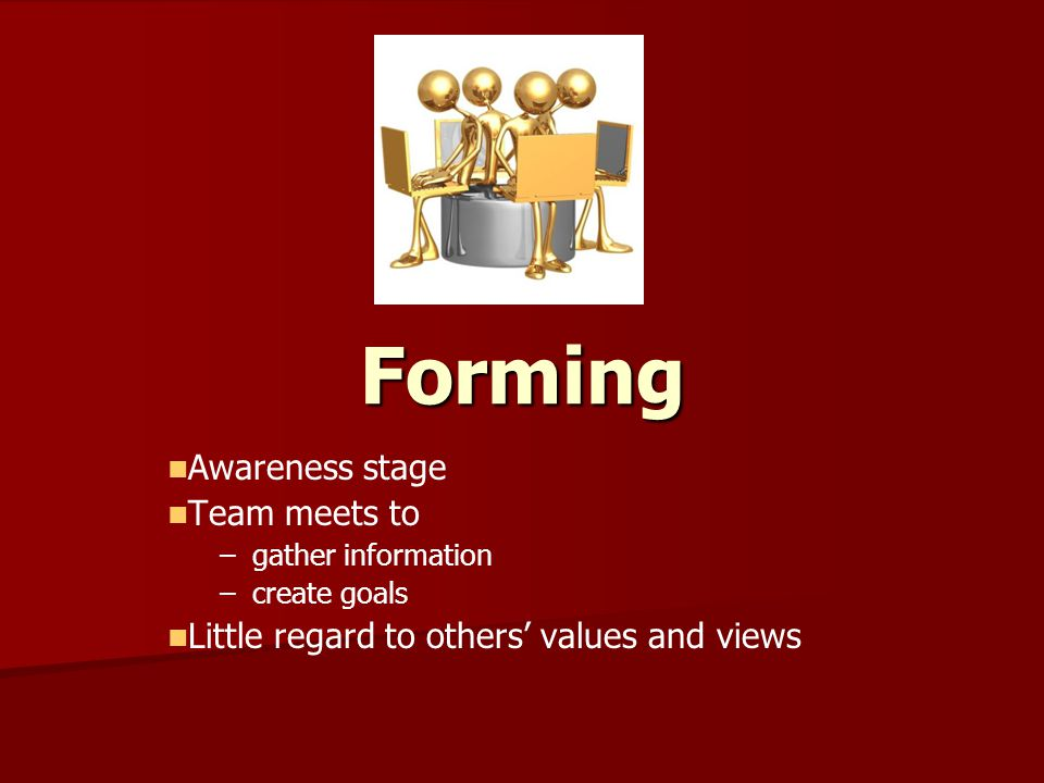Forming Awareness stage Team meets to