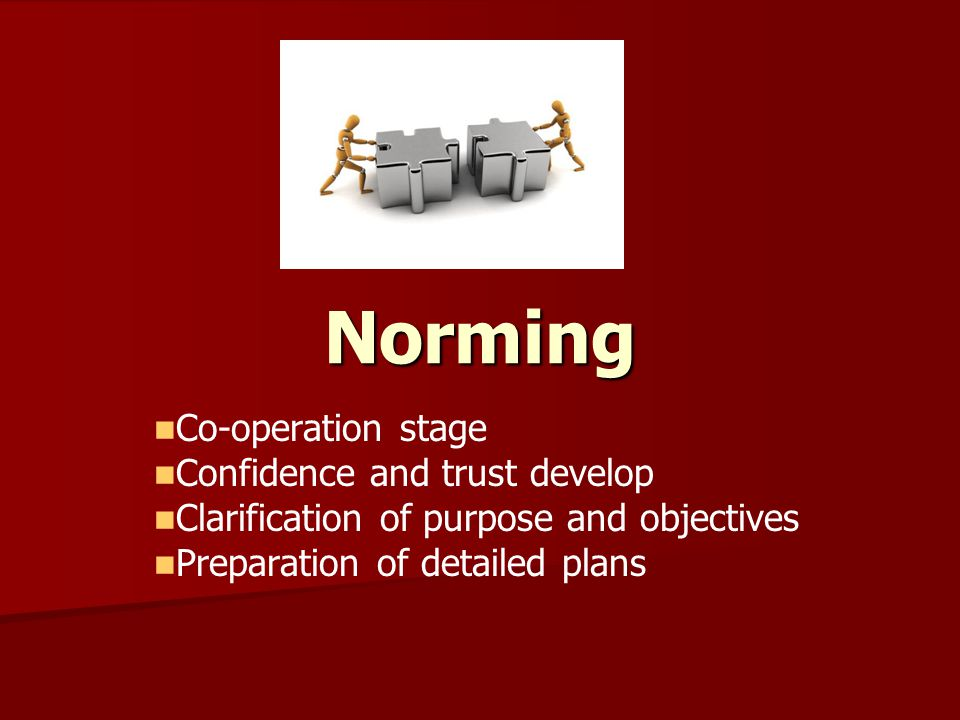 Norming Co-operation stage Confidence and trust develop