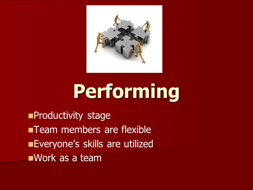 Performing Productivity stage Team members are flexible
