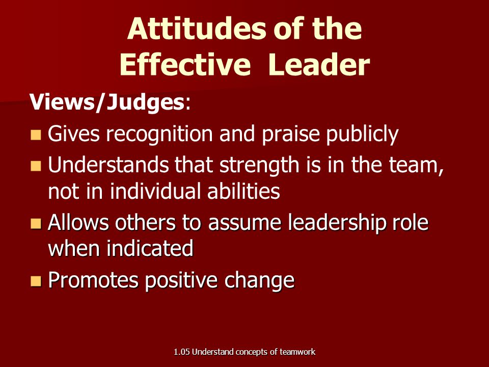 Attitudes of the Effective Leader