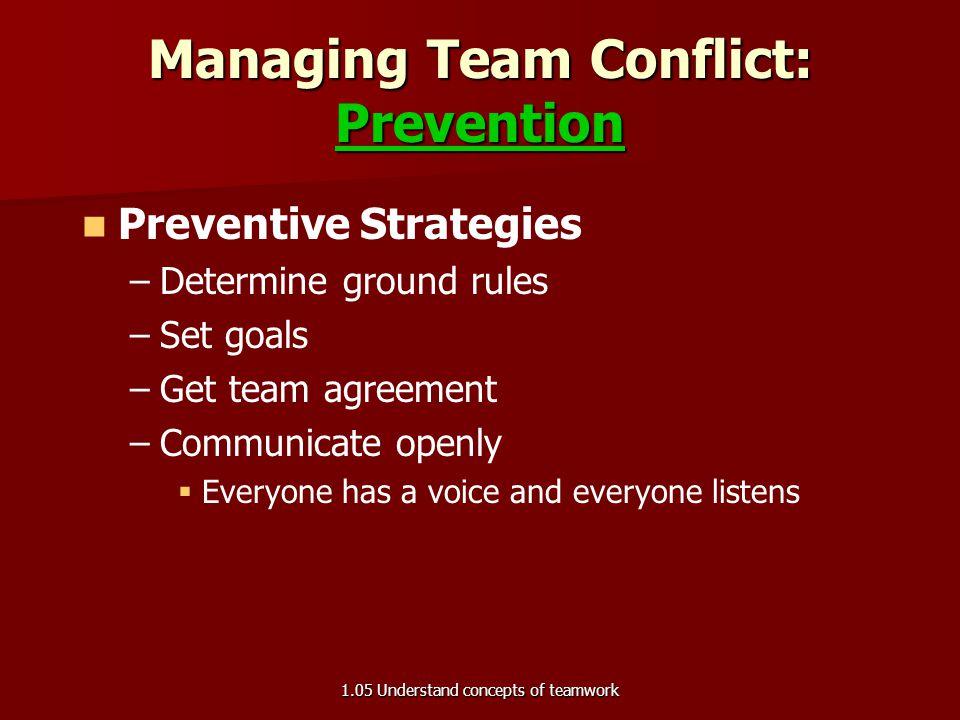 Managing Team Conflict: Prevention