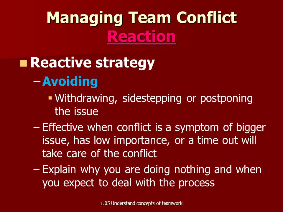 Managing Team Conflict Reaction