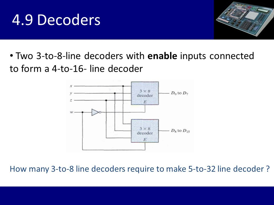 4.9 Decoders Two 3-to-8-line decoders with enable inputs connected to form a 4-to-16- line decoder.