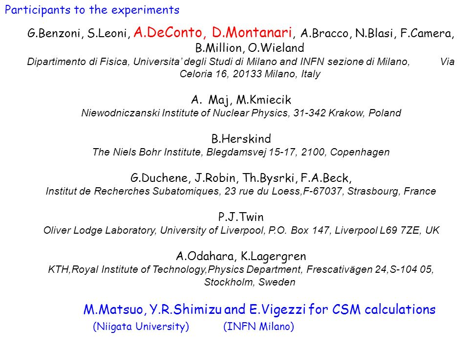 M.Matsuo, Y.R.Shimizu and E.Vigezzi for CSM calculations