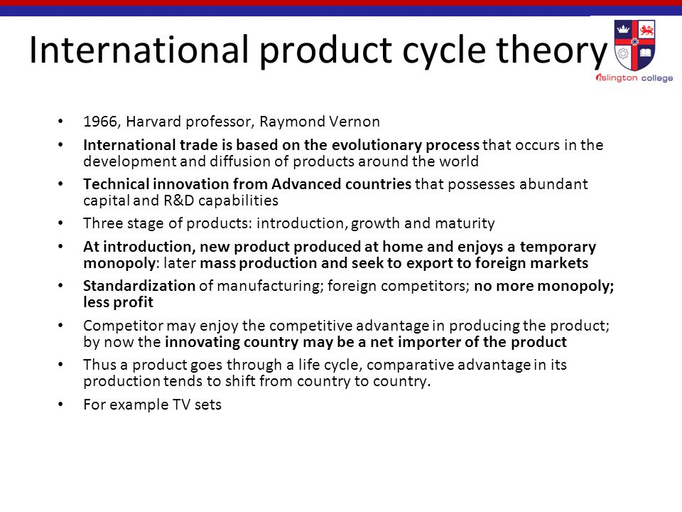international product life cycle theory essays Vernon's international product life cycle theory (1996) is based on the experience of the us market at that time, vernon observed and found that a large proportion of the world's new products came from the us for most of the 20th century it was concluded that us was the first to.